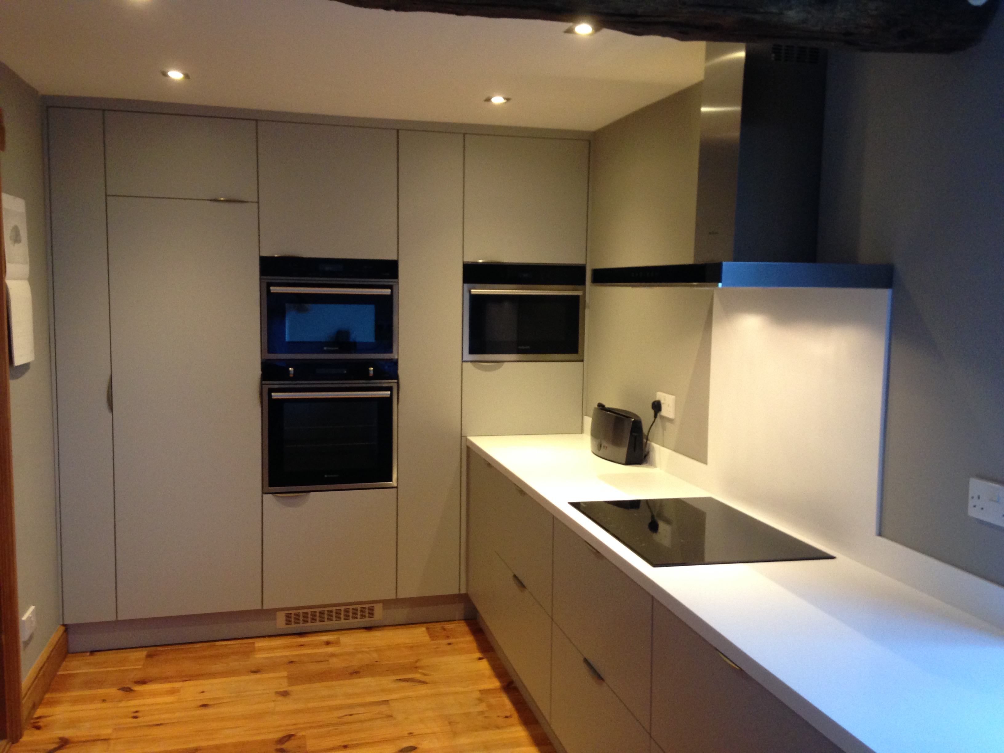 Luxury Fitted Kitchen In Halifax, supermatt grey doors and Corian worktop