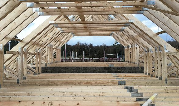 Attic Trusses Being Erected In Halifax Yorkshire