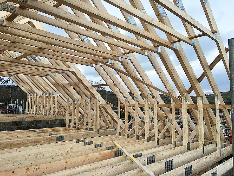 Attic Trusses Erected in Halifax Yorkshire by Carpenters