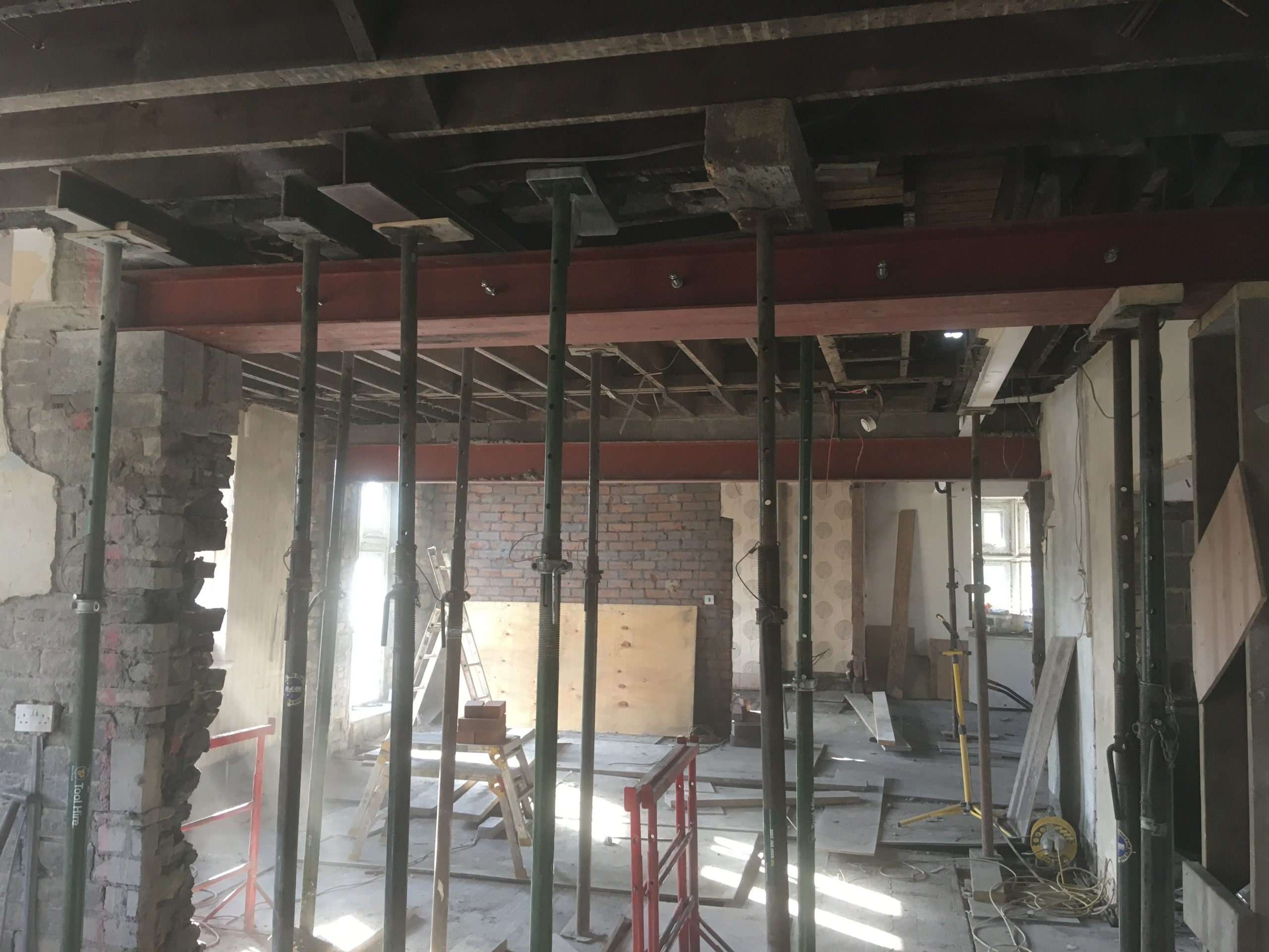 Walls and Chimney Removal and Steels Installed