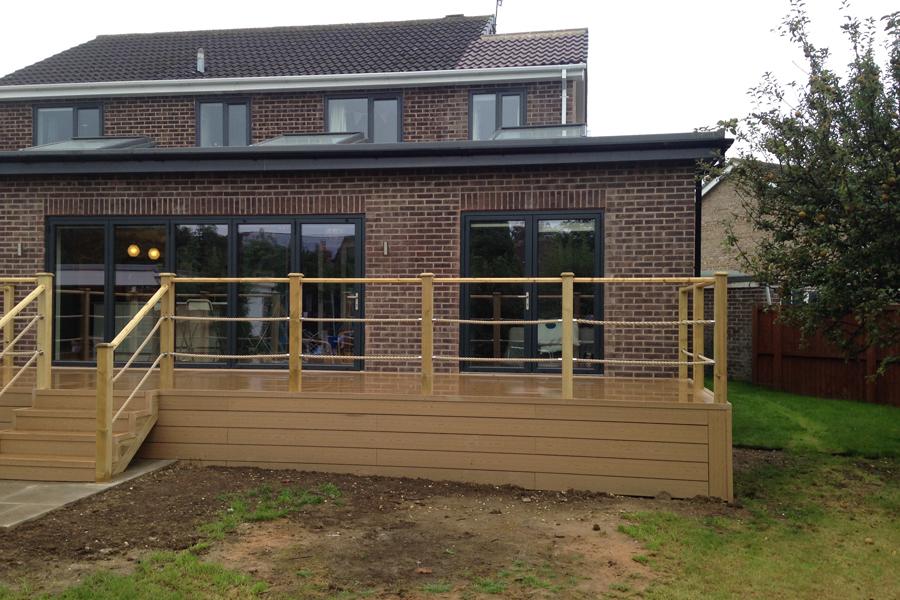 Joiner Made Composite garden decking. Carpenters in Leeds Yorkshire